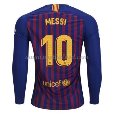 Voetbalshirts Clubs Barcelona 2018-19 Lionel Messi 10 Thuisshirt Lange Mouw