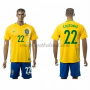 Voetbaltenue Brazilië Nationale Elftal 2016 Philippe Coutinho 22 Thuisshirt..