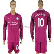 Voetbalshirts Clubs Manchester City 2017-18 Kun Aguero 10 Uitshirt Lange Mouw..