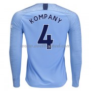 Voetbalshirts Clubs Manchester City 2018-19 Vincent Kompany 4 Thuisshirt Lange Mouw..