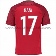 Voetbaltenue Portugal Nationale Elftal 2016 Luis Nani 17 Thuisshirt..