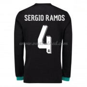 Voetbalshirts Clubs Real Madrid 2017-18 Sergio Ramos 4 Uitshirt Lange Mouw..