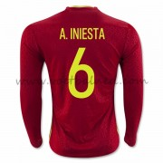 Voetbaltenue Spanje Nationale Elftal 2016 A. Iniesta 6 Thuisshirt Lange Mouw..
