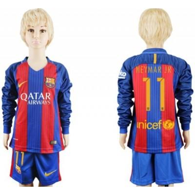 Voetbaltenue Kind Barcelona 2016-17 Neymar Jr 11 Thuisshirt Lange Mouw